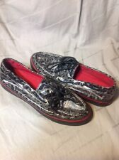 Women's 9 M Sperry Top-Sider Black/Gray/red Leopard Print Boat Shoes 9802729