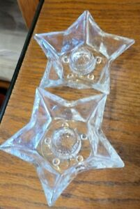 Vintage 5 Point Star Shaped Glass Tapered Candlestick Holders-Set of 2