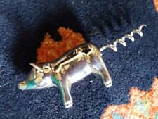Chrome metal Pig with curly tail  corkscrew