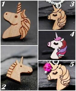 Verspielte Einhorn Halskette aus Holz - Kinderschmuck Fantasy pink rosa  Pferde