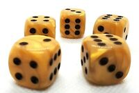 5 RPG Würfel Spiel Kniffeln W6 16mm dice4friends DSA Made in Germany Honig Gold