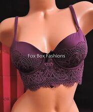 34B VICTORIA'S SECRET Body Cropped Bustier Bra Memory Fit 4648 Purple Crochet