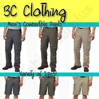 NEW BC Clothing Men's Convertible Stretch Cargo Hiking Active Pants Shorts M-XXL