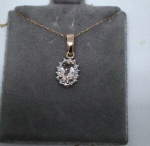 10k Rose Gold Morganite Diamond Pendant Necklace Chain Oval halo style pink oval