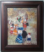 French Impressionist painting The Promenade Oil on canvas Urbain HUCHET