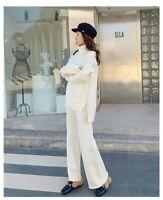 cream turtleneck long sleeve jumper + wide leg trouser warm winter set co ord