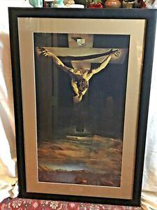 """Vintage SALVADOR DALI """"CHRIST OF ST. JOHN OF THE CROSS"""" Framed Print"""