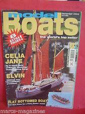 MODEL BOATS NOVEMBER 2002 CELIA JANE ELVIN FLAT BOTTOM BOAT PLAN ENGLAND CUNARD