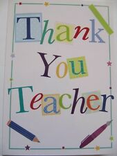 LOVELY BRIGHT AND COLOURFUL THANK YOU TEACHER GREETING CARD