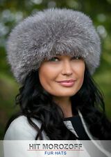 Blue Frost FOX Grey Silver Fur Hat Black Top Roller Schapka Pelzmütze Fellmütze