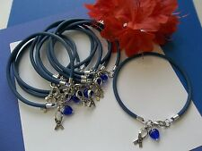 10 COLON CANCER AWARENESS/CHILD ABUSE PREVENTION BRACELETS /HOPE RIBBON W/HEART