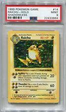 Pokemon Card Unlimited Shadowless Raichu Base Set 14/102, PSA 9 Mint