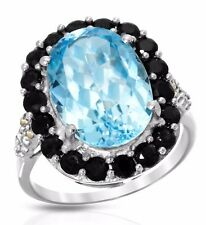 COCKTAIL RING 8.67 CTW GENUINE SPINELS AND TOPAZ 925 STERLING.WEIGHT 4.7 GR. NEW