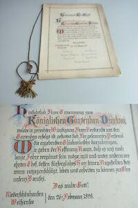 Kalligraphie-Urkunde Low Schonhausen 1898 For Gartenbaudirektor Theodor Jawer