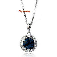 18k White Gold Plated Women Birthstone Blue Sapphire Round Drop Necklace N147