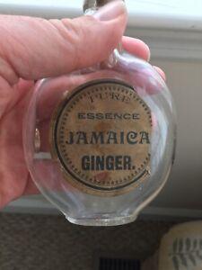 Vintage PURE ESSENCE JAMAICAN GINGER PAPER LABEL FLASK