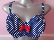 BNWT Panache Swim Cobalto/Bianco Senza Spalline Reggiseno Bikini A Fascia BRIT Top 30ff RP £ 36