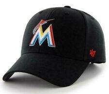 MIAMI MARLINS MLB BLACK MVP ADJUSTABLE '47 BRAND VINTAGE RETRO LOGO HAT CAP NEW!
