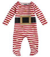 Girls Mud Pie Glitter Santa One Piece Footed Outfit Christmas 0-3 Months NWT