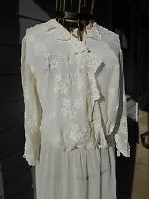 New listing Lovely Antique Edwardian Lawn Dress White Sheer Tea 1900-1910 Victorian Large