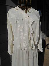 Lovely Antique EDWARDIAN LAWN DRESS White Sheer Tea 1900-1910 VICTORIAN Large