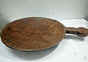 Antique Primitive WOODEN Hand Carved Dough Trencher Bowl /parat With Handle