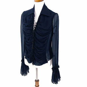 Isabel de Pedro Mr Cat Black Sheer Silk Ruched Blouse Size 8 Top