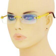 Men Elegant Sophisticated Square Gold Slim Rimless Frame Clear Lens Eye Glasses