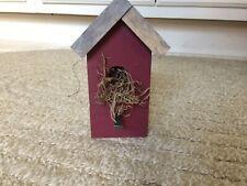 "6"" Handmade Burgundy WOOD Birdhouse Country SPRING Shelf Decor Farmhouse Stained"
