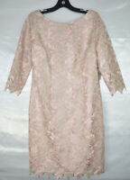 ELIZA J Womens Cocktail Party Lace Dress, 3/4 Sleeves, Crochet Detail Pink $188