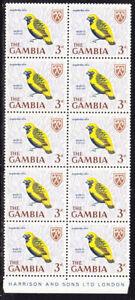 Gambia 1966 -  3d Yellow Crown Bishop Imprint Block 10 MNH