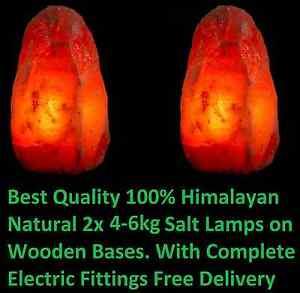 2 x 4-6kg HIMALAYAN PINK SALT ROCK CRYSTAL LAMP NATURAL HEALING IONIZING LAMPS