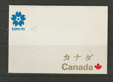 CANADA Souvenir Card #TC2   Sapporo World's Fair 1970