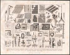 1870 Gravure originale construction chapenterie toiture toits serrurerie outils