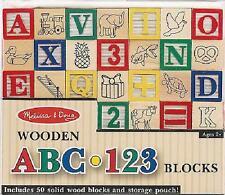 Melissa & Doug  Wooden ABC and 123 Blocks