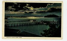 Bay at Night ONSET MA Antique Docks Moon Postcard ca. 1910s