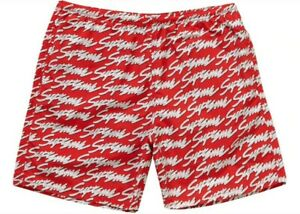 Supreme Signature Script Logo Water Shorts XL SS19 Red NEW