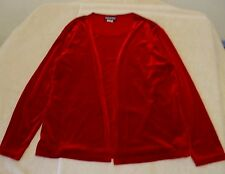 Notations Size M Open Front Dark Red Velour Duet Knit Cardigan Top, long sleeves