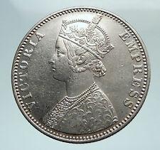 1900 BRITISH INDIA UK COLONY Queen Victoria Genuine Silver RUPEE Coin i80154