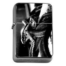 Windproof Refillable Flip Top Oil Lighter Black Snake D5 Reptile Desert Fangs