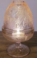 Tiara Indiana Glass Pink Peach Sandwich Fairy Lamp Glo Votive Candle Holder