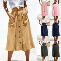 Women A-line Skirts Long Single-Breasted Skirt With Pocket Bottom-Down Dress
