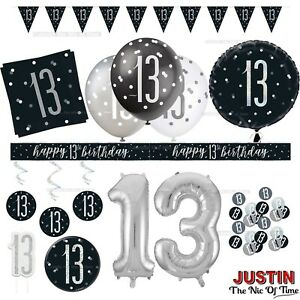 Black 13th Birthday Party Decorations Boys Men Teenager Balloons Banners Age 13