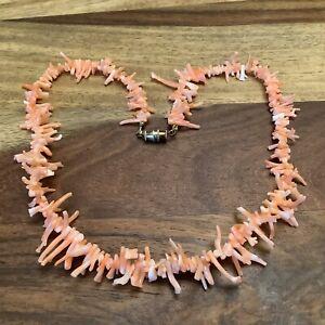 Vintage Pink Angel Skin Natural Branch Coral Choker Necklace