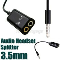 3.5mm Audio TRRS to 2 TRS Mic Headset Y Splitter Adapter Cable 4 Pole Black
