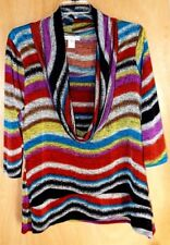 Vintage Suzie Multi-Color Cowl Neck 3/4 Sleeve Top Size XL Stretchy & Silky