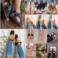 Women Lady Flat Peeptoe Espadrille Pumps Casual Beach Sandals Flip Flops Shoes