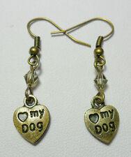 Dangle earrings - bronze 'love my dog' heart + glass bead