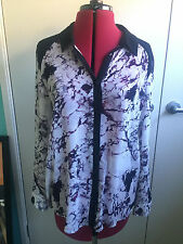 T by Bettina Liano Black and White Marbled Sheer Shirt - Size 10