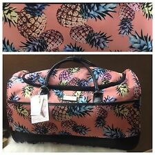 Jessica Simpson Luggage Rolling Duffle Bag Weekender Carry Pink  Blush Pineapple